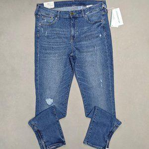 NWT H&M Medium Wash Skinny Zipper Ankle Jeans 32